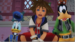 Sora, Donald et Dingo au Pays des Merveilles dans Kingdom Hearts Final Mix version HD.